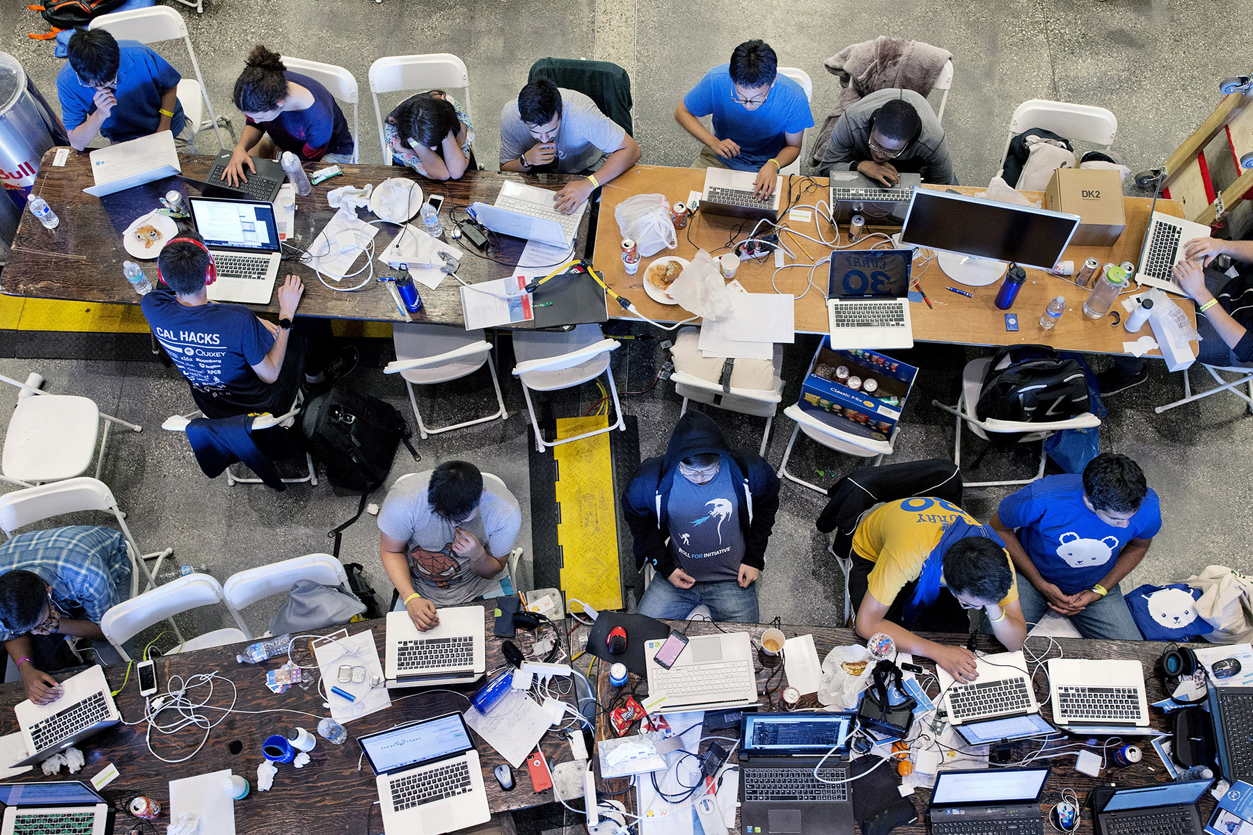Participants in Cal Hacks 2.0, a 36-hour hackathon work on projects inside the football stadium at the University of California, Berkeley in Berkeley, Calif., in October 2015. According to the event organizers, 2,071 participants attended from 143 schools and 10 countries. Hackathons are events usually lasting a few days in which computer programmers and others involved in software and hardware development collaborate on a project over a set period of time, often while competing for awards and prizes. They're an important part of the technology industry ecosystem.