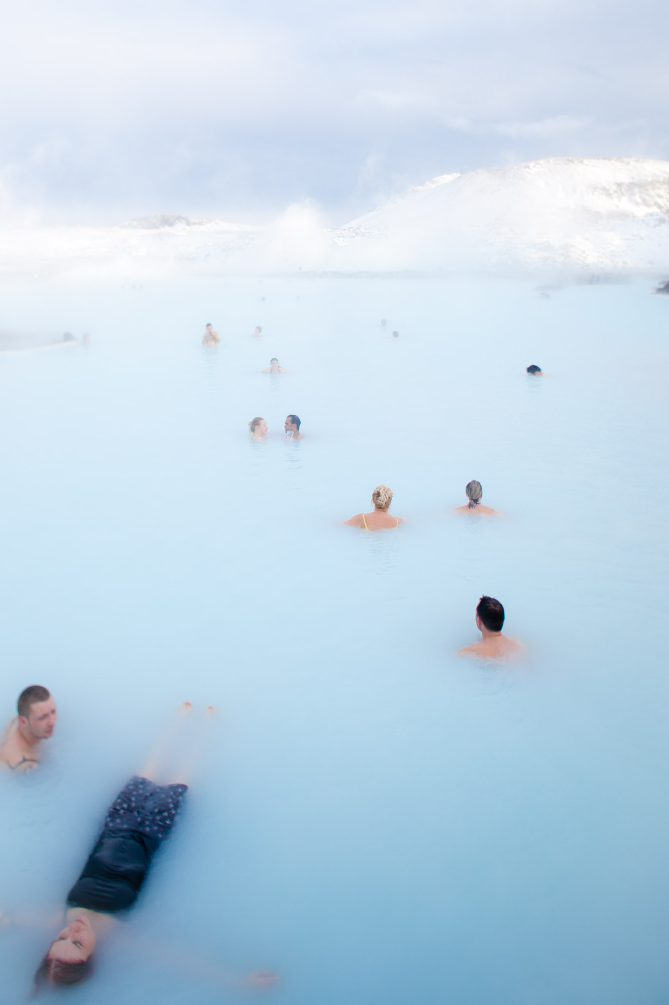 The Blue Lagoon in Grindavik, Iceland. The miniral rich waters of the Lagoon is actually the waste product of the Svartsengi geothermal power plant.