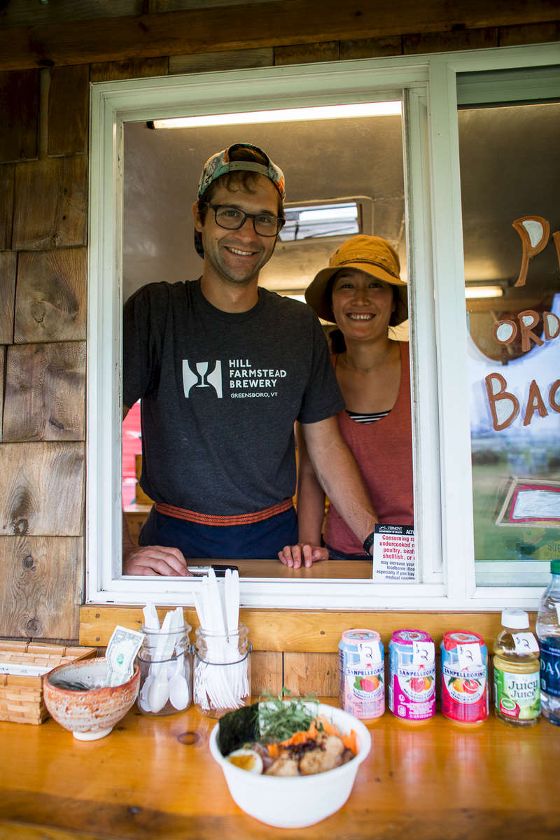 Jordan and Momoko (Momo) Antonucci, owners of the Miso Hungry food cart during the Wings Over Vermont air show on the Burlington waterfront on Friday, August 12, 2013.