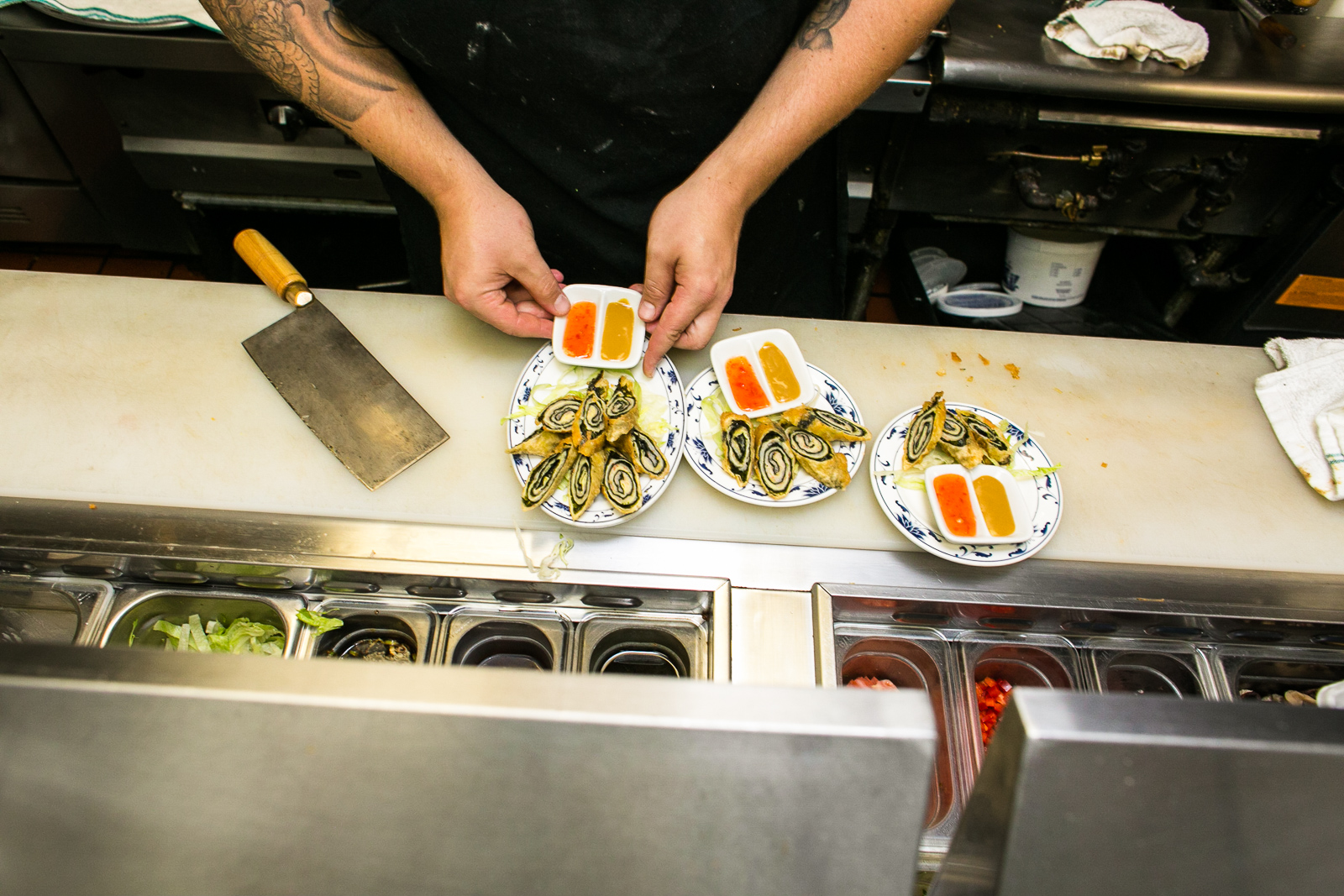 Chef Joe Kelly prepares Tricolored Shrimp Roll dishes at A Single Pebble Restaurant in Burlington, Vermont on Tuesday, September 13, 2016.