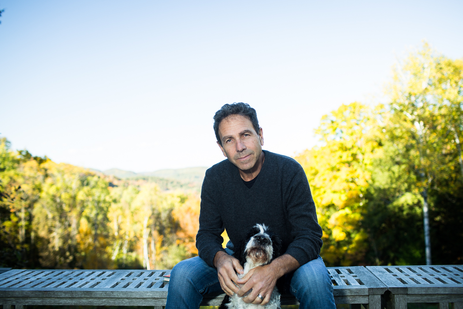 Jim Sadwith at his home in Woodstock, Vermont with his dog Queeg shortly before the release of his film Coming Through the Rye, on Wednesday, October 5, 2016.