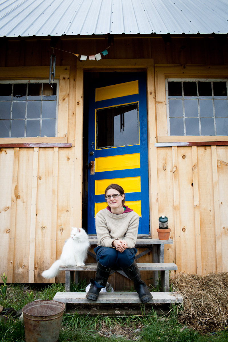 Ivy, a small raw milk dairy farmer, at her home in Vermont. by photographer Monica Donovan