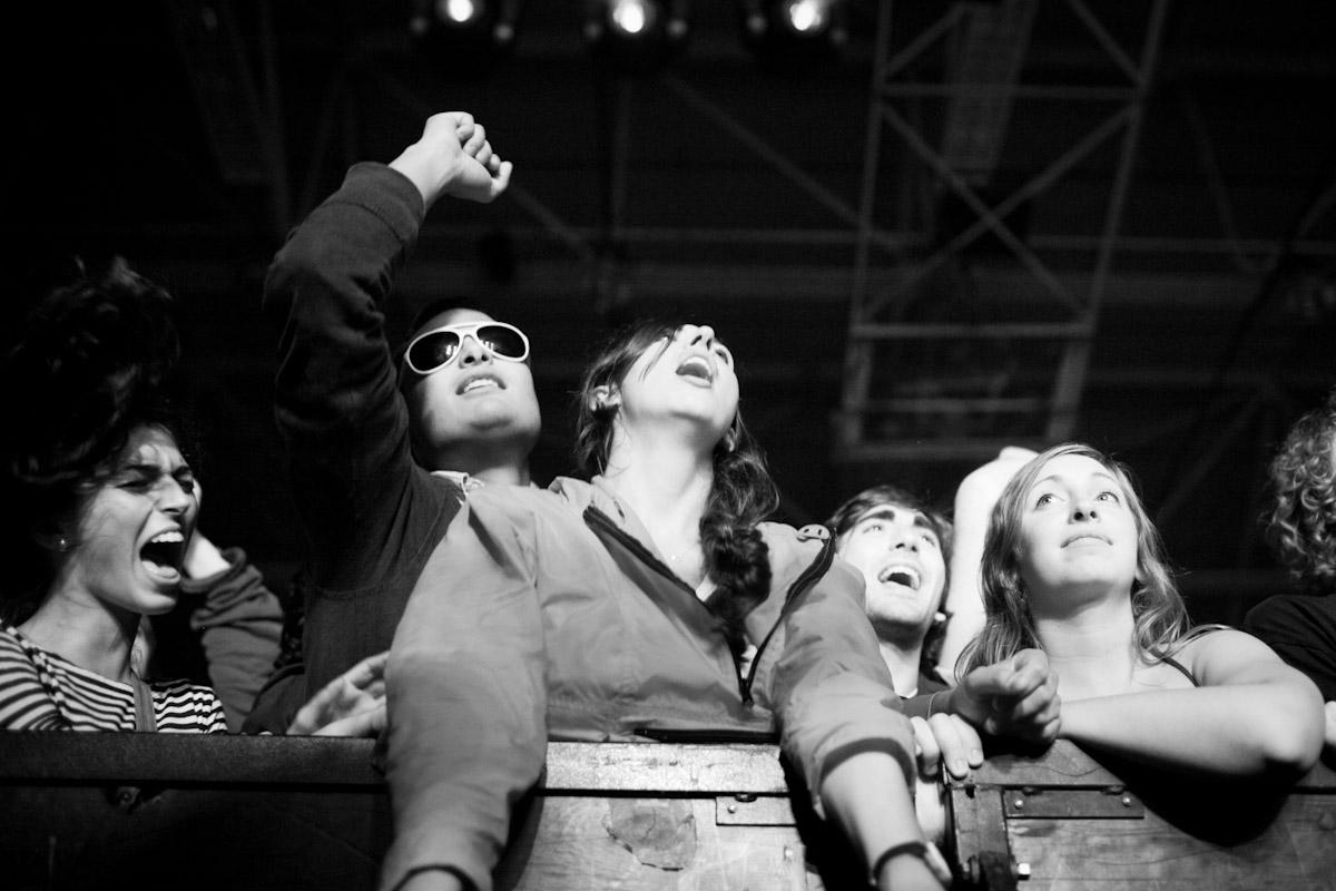 The audience at LCD Soundsystem, Memorial Auditorium in Burlington, Vermont.