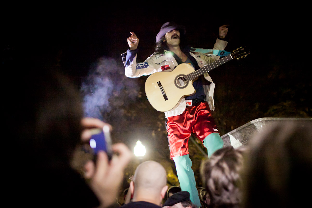 Eugene Hutz of Gogol Bordello performs an impromptu acoustic show at City Hall Park in Burlington, Vermont, in support of the Occupy movement.