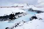 Svartsengi geothermal power plant in Grindavik, Iceland. After passing through a heat exchanger to provide municipal hot water, the plant's wastewater is fed into the Blue Lagoon, a spa and major tourist attraction.