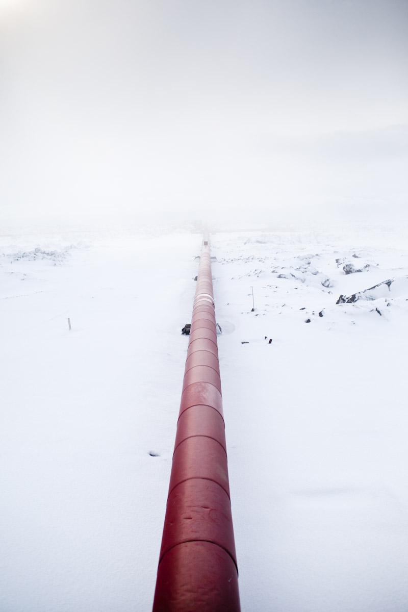Geothermal pipes at the Svartsengi Power Plant, Grindavik, Iceland.