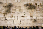 Women line up against the Western Wall in the Old City of Jerusalem, Israel.