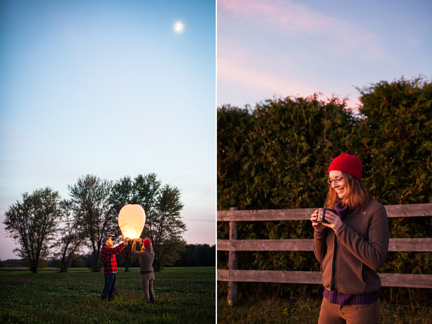 Paper lantern release and mugs of warm cider at dusk in the fall, by Vermont Photographer Monica Donovan.