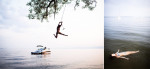 Rope swing in Burlington over Lake Champlain and floating in the lake, summer, by Vermont photographer Monica Donovan.