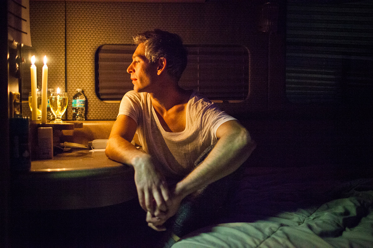 Matisyahu poses for a portrait after lighting Hanukah candles on his tour bus behind Higher Ground Music in South Burlington, Vermont on Tuesday, December 16, 2014. by Monica Donovan for Billboard Magazine