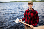 Martin Hemming poses for a portrait while participating in the annual Adirondack Woodsmen\'s School at Paul Smith\'s College. by Monica Donovan for the Sunday Times