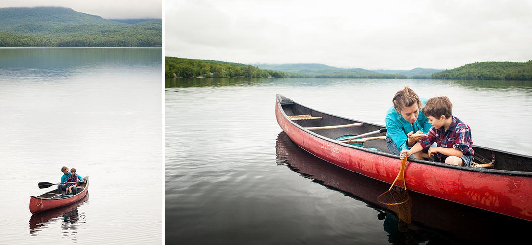 Mother and child in canoe, boating at Kezar Lake, Maine. by Vermont photographers at Reciprocity Studio, Burlington