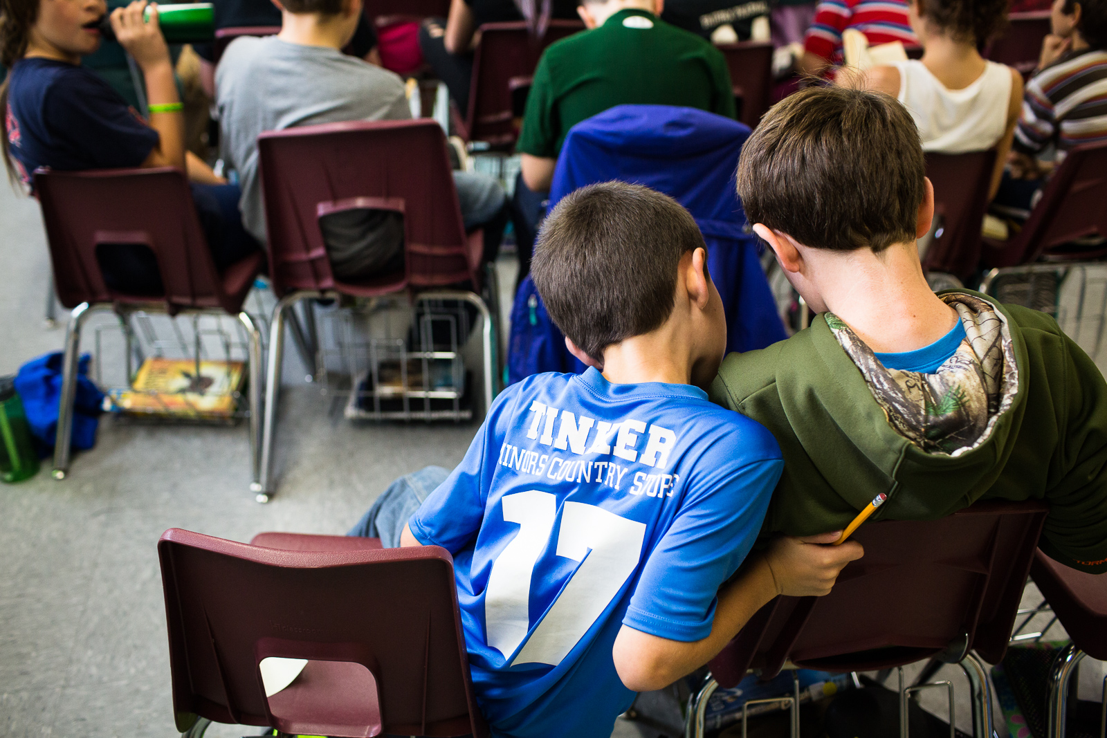 Students read the BFG by Roald Dahl during a Global Read Aloud exchange with a class in New York, at Fletcher Elementary in Fletcher, Vermont on Thursday, October 20, 2016. by Monica Donovan for the George Lucas Educational Foundation