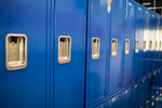 Hallway lockers at Bellows Free Academy class in Fairfax, Vermont on Thursday, October 20, 2016. by Monica Donovan for the George Lucas Educational Foundation