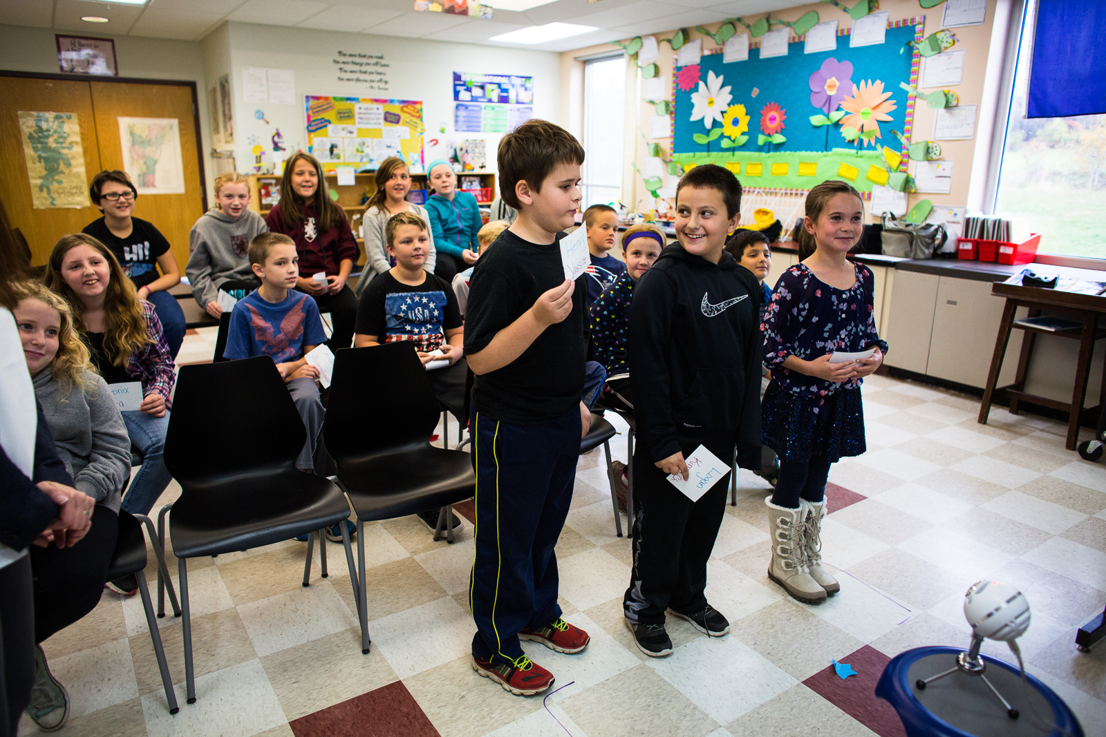 Teacher Kendra Myers and her fourth grade Bellows Free Academy class in Fairfax, Vermont during an exchange with a classroom in Tunisia on Thursday, October 20, 2016. by Monica Donovan for the George Lucas Educational Foundation