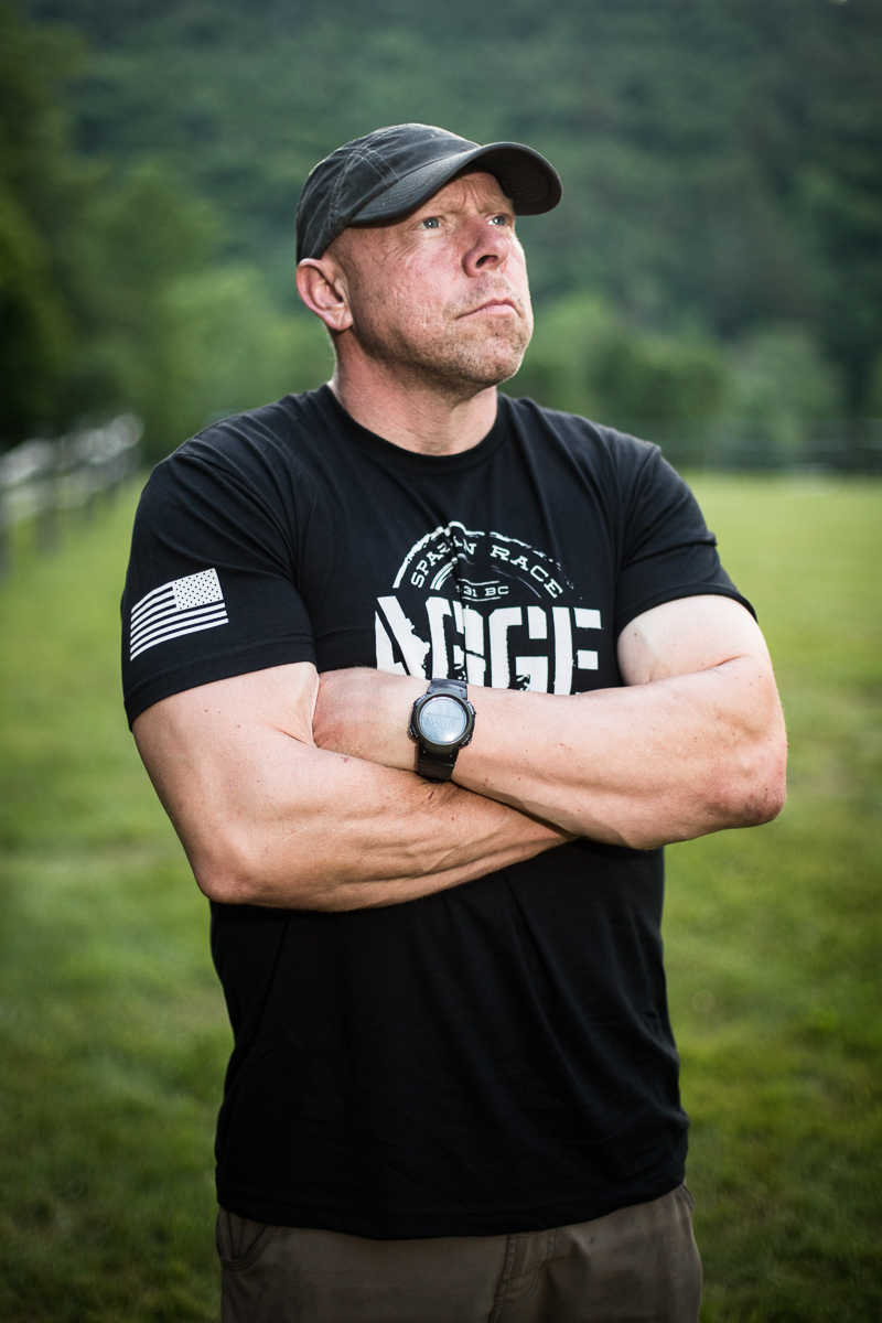 Mark Peterson poses for a portrait after the Agoge 60 Spartan race on Sunday, June 19, 2016, at Riverside Farm in Pittsfield, Vermont.