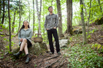 Jenna Antonino DiMare and Ari Rockland-Miller of The Mushroom Forager pose for a portrait during a foraging session in the woods of Vermont.