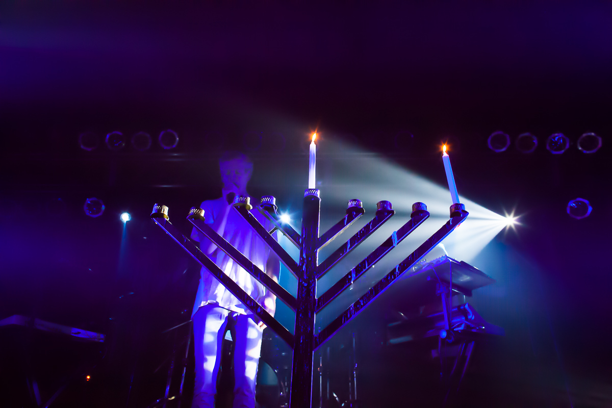 Matisyahu performs after lighting the first candle of Hannukah at Higher Ground in Burlington on December 16, 2014. By Vermont Photographer Monica Donovan for Billboard Magazine