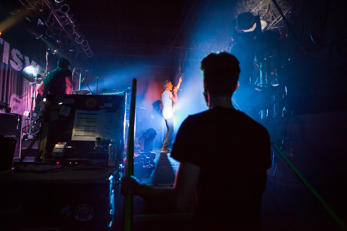 Crew members watch Matisyahu\'s performance at Higher Ground in Burlington on December 16, 2014. By Vermont Photographer Monica Donovan for Billboard Magazine