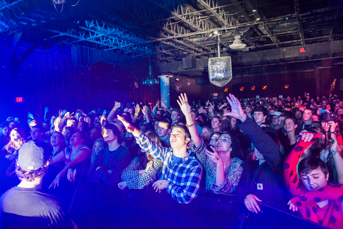 Audience members cheer for Matisyahu at Higher Ground in Burlington on December 16, 2014. By Vermont Photographer Monica Donovan for Billboard Magazine