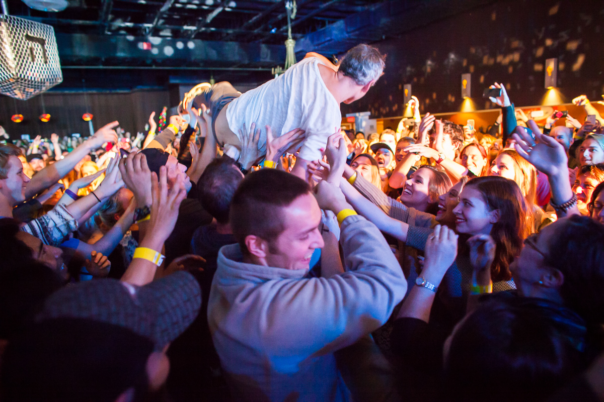Matisyahu crowd surfs at Higher Ground in Burlington on December 16, 2014. By Vermont Photographer Monica Donovan for Billboard Magazine
