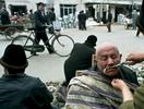 Market haircut and mustache trim, Kashgar, China
