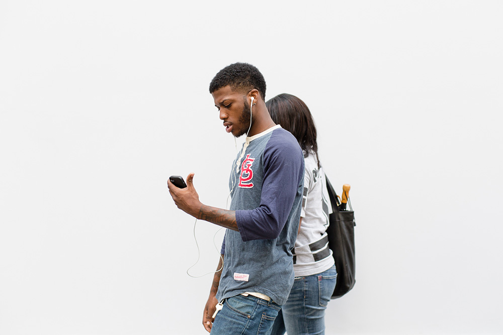Detail from 'Connected' (NYC), August 31, 2014. In this conceptual series, passersby are photographed against a neutral background over several hours or days. The editing process then singles out individuals or groupings who are then juxtaposed with others to form new 'connections' through which I explore various social themes. The project is ongoing, though many finished images can be seen at www.bradhamilton.com #bradhamilton #connectedproject #nyc #art #fineart #streetart  #streetphotography