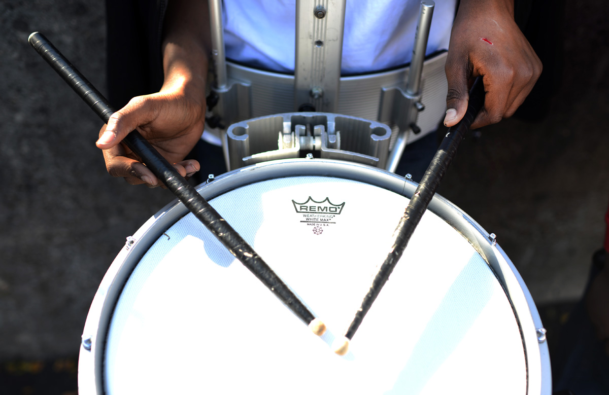 Correy Williams, 14, on the snare drum.With just a week to go until the Holiday Parade through downtown Asheville, the Hillcrest High Steppin' Majorettes and Drum Corps practice all Saturday afternoon.11-10-12 - Erin Brethauer (ebrethau@citizen-times.com)