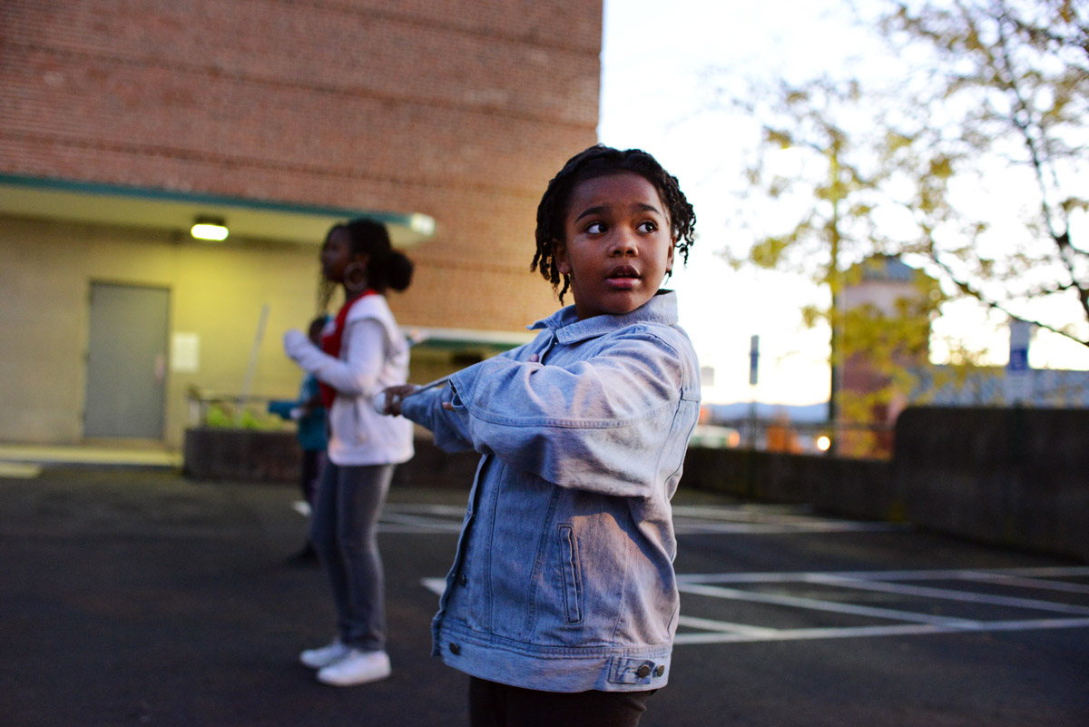 Lonna Hayes, 6, practices with members of the Hillcrest High Steppin' Majorettes and Drum Corps on a cold Tuesday evening.11-13-12 - Erin Brethauer (ebrethau@citizen-times.com)