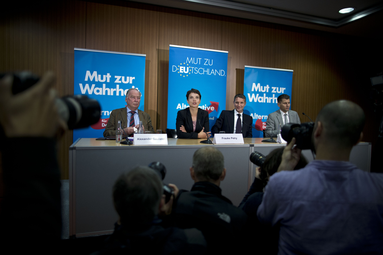 September 01, 2014 - Berlin, Germany: Frauke Petry (L), lead candidate for the AfD (Alternative fuer Deutschland, or Alternative for Germany) political party in recent Saxony state elections, speaks to the media with Bjoern Hoecke (C), AfD lead candidate in Thuringia, the day after the AfD won an unexpected 9.7% of the popular vote in Saxony state elections. The party, which is presenting itself as right of center, Euro skeptic is developing itself as a significant player on the German political landscape.  (Hermann BredehorstPolaris)