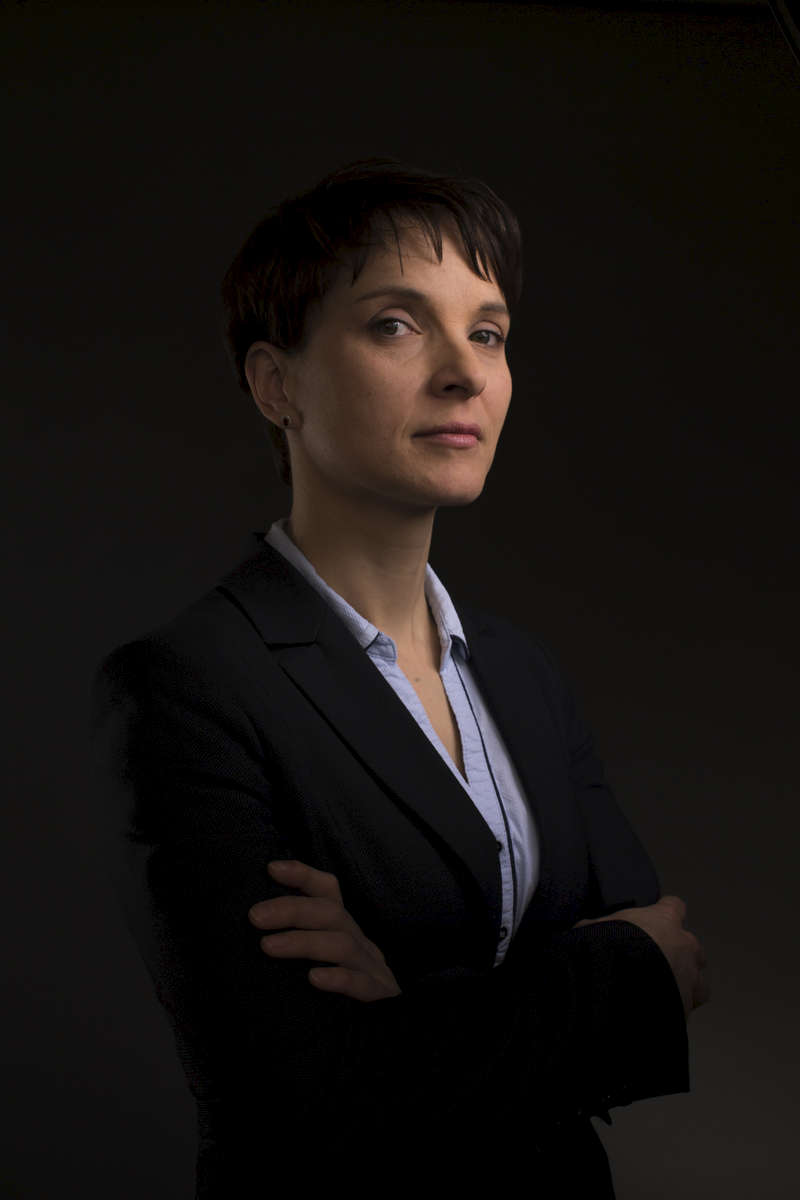 March 11, 2016 - Germany, Berlin: Frauke Petry, Federal Chairwoman of the 'Alternative fuer Deutschland' party (lit. 'Alternative for Germany', short 'AfD') stands for a portrait. (Hermann Bredehorst/Polaris)