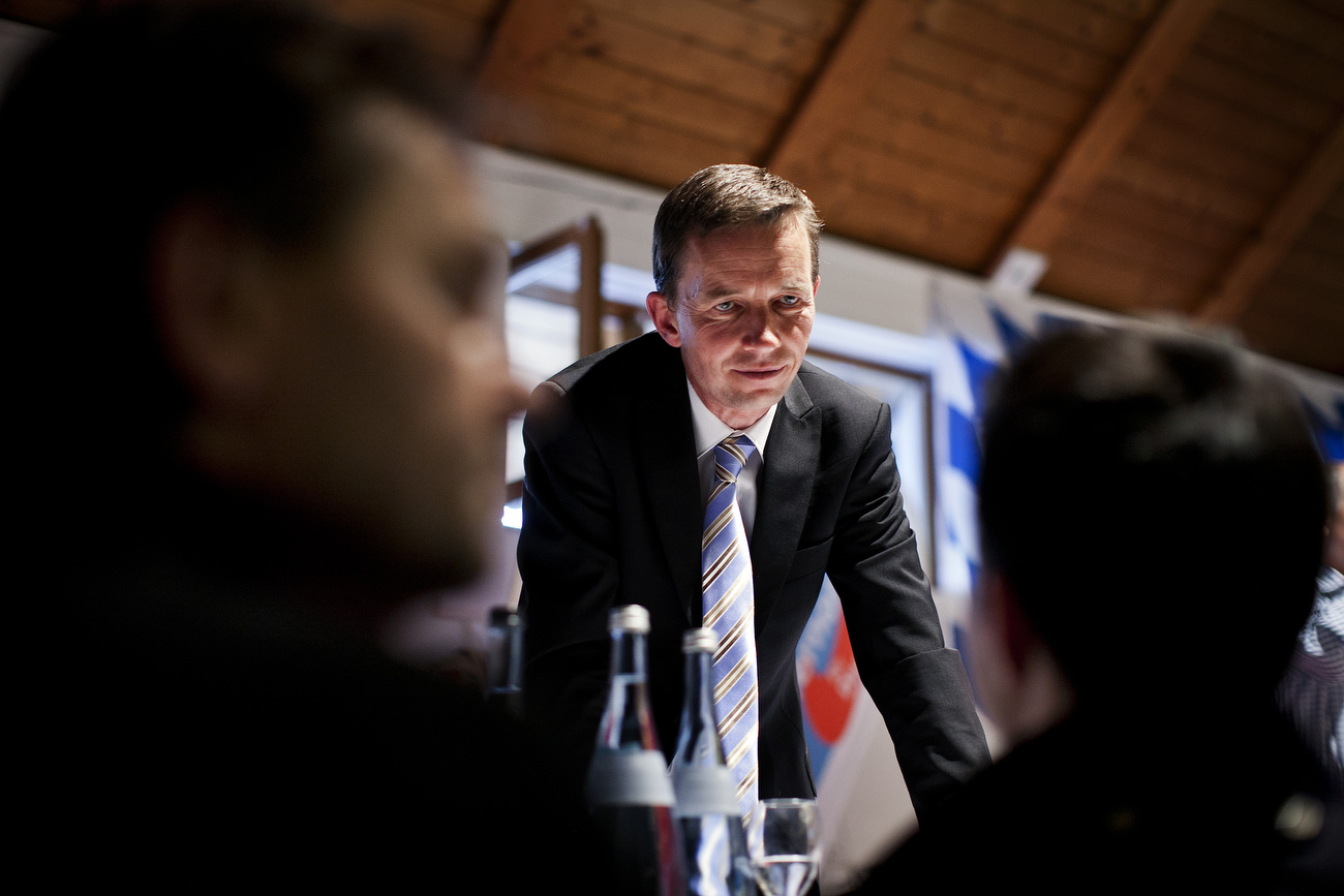 May 11, 2013 - Ingoldstadt, Germany:  Prof. Bernd Lucke, co-founder of Germany's anti-euro party AfD 'Alternative fuer Deutschland' (Alternative for Germany) speaks to delegates of Germany's anti-euro party AfD 'Alternative fuer Deutschland' (Alternative for Germany) as they attend the Bavarian state party meeting. The AfD party is a euro-skeptical, conservative party. Recent polls show that about a quarter of the German electorate may consider voting for a party that advocates a German exit from the eurozone. General elections in Germany are scheduled for Sept. 22. Yet AfD has failed to generate broader support, languishing in opinion polls at 3 to 5 percent besides a massive coverage in the countries conservative media. (Hermann BredehorstPolaris)