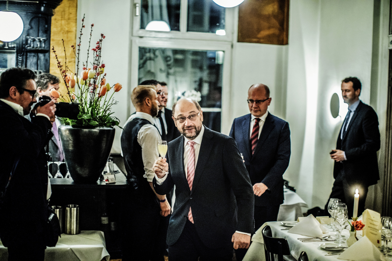 March 12, 2017 - Berlin, Germany: Martin Schulz arrives to at the restaurant and get's a welcome drink. The German SPD's chancellor candidate Martin Schulz hosts a dinner event with several  social democratic heads of government held by the Progressive Alliance, an association of centre-left parties from across the world. The social democratic parties present a plan on collaborating more closely in the future in order to forestall the rise of far-right populists. The representatives of around 100 parties are participating in the two-day event in Berlin.  (Hermann Bredehorst/Polaris)