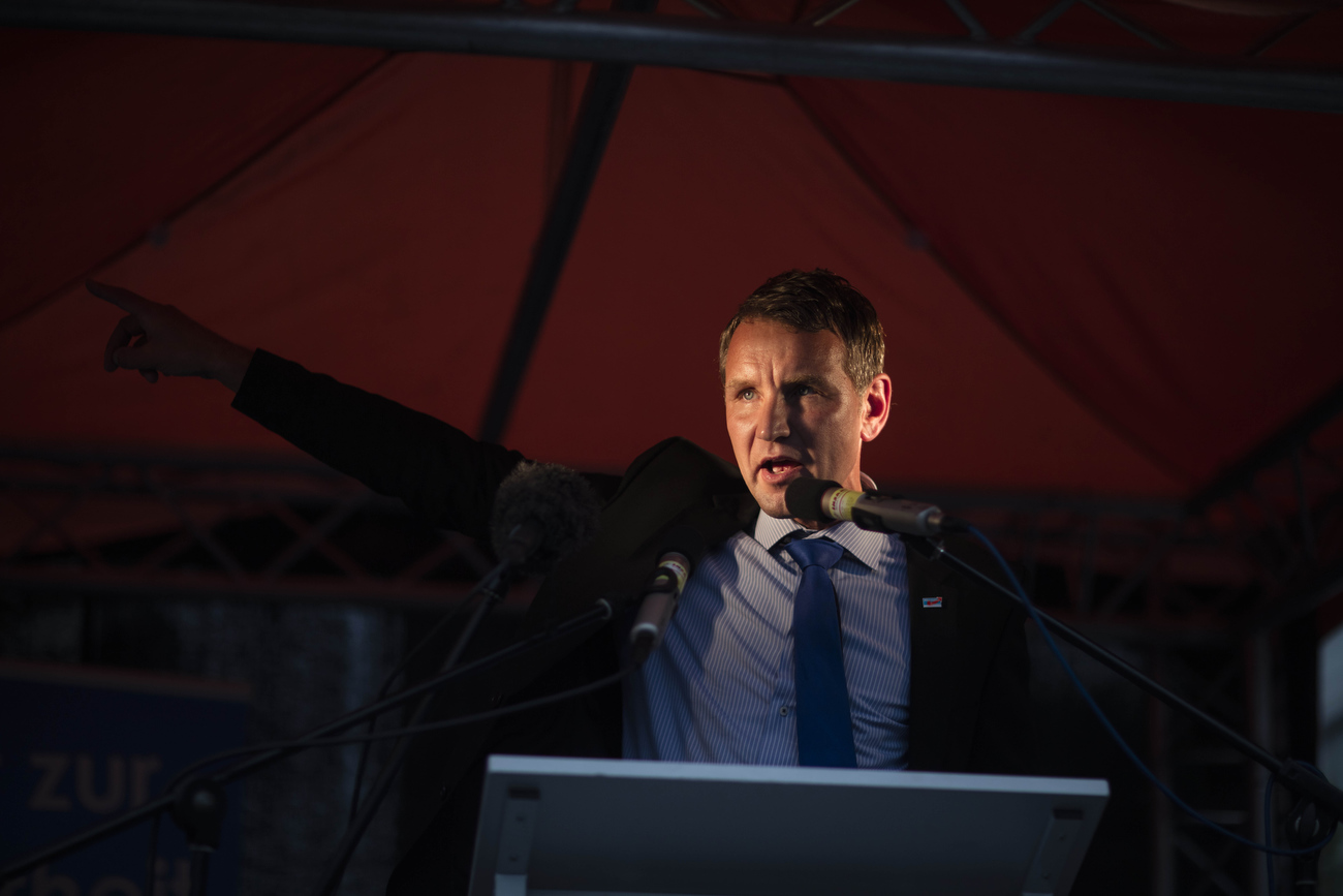 August 12, 2016 -Neubrandenburg, East Germany: Bjoern Hoecke, head of the Alternative fuer Deutschland political party (Alternative for Germany, AfD) in Thuringia, agitates a small crowd at an AfD party rally. The anti-immigration party is surging after Germany took in most of the more than 1 million refugees who arrived in the European Union last year. The party's rise is narrowing coalition-building options for Germany's established parties and threatens the status quo nationwide. Polls suggest the AfD will win up to 19% of the votes in this east German state of Mecklenburg-Western Pomerania, where Germanys Chancellor Merkel has her electoral district.