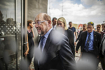 August 16, 2017 - Stralsund, East Germany: An exhausted Martin Schulz, chancellor candidate of the German Social Democrats (SPD) walks through the entrance door  as he and  and Governor of Mecklenburg-Western Pomerania Manuela Schwesig tour  the Ozeanum (northern seas exhibition)  during an election campaign stop. Germany is scheduled to hold federal elections on September 24. (Hermann Bredehorst / Der Spiegel / Polaris)