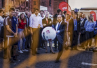 August 16, 2017 - Stralsund, East Germany: Martin Schulz kicks a soccer ball as part of his visit to the SPD festivity. Martin Schulz, chancellor candidate of the German Social Democrats (SPD) and Governor of Mecklenburg-Western Pomerania Manuela Schwesig join the  SPD Bürgerfest  (Citizens Festival ) during an election campaign stop. Germany is scheduled to hold federal elections on September 24. (Hermann Bredehorst / Der Spiegel / Polaris)