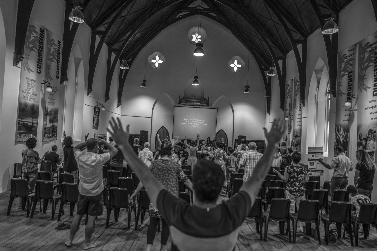 Clanwilliam, South Africa: Belivers attend service at Harvester Reformational Church. South Africa is according to TIME the most unequal country on the planet. A surge in Cape Town's murder rate has raised concerns that it could soon challenge for the unenviable title of the world's most dangerous city.