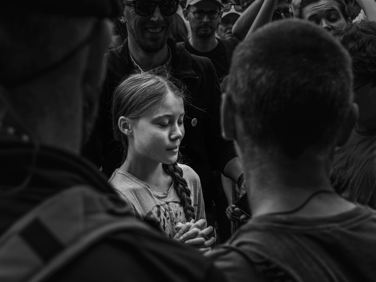 Berlin, Germany: Swedish environmental activist Greta Thunberg departs after addressing a crowd of   about 2000 demonstrators during a {quote}Fridays for Future{quote} protest, Thunberg is claiming for urgent measures to combat climate change.