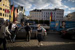 August 19, 2016 -Schwerin, Germany: Petra Federau local AfD politician takes part as Bjoern Hoecke, head of the Alternative fuer Deutschland political party (Alternative for Germany, AfD) in Thuringia and Leif-Erik Holm, lead candidate for the AfD in Mecklenburg Western Pomerania agitate a small crowd at an AfD party rally. The anti-immigration party is surging after Germany took in most of the more than 1 million refugees who arrived in the European Union last year. The party's rise is narrowing coalition-building options for Germany's established parties and threatens the status quo nationwide. Polls suggest the AfD will win up to 19% of the votes in this east German state of Mecklenburg-Western Pomerania, where Germanys Chancellor Merkel has her electoral district.