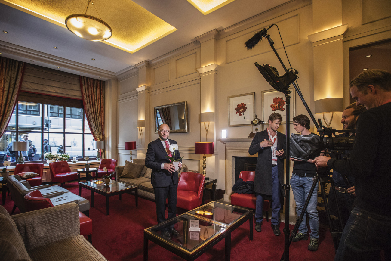 September 21, 2017 - Hannover, Germany: Social Democrats Party (SPD) leader and candidate for Chancellor Martin Schulz takes a break inside a hotel and  is forced by his team to record  statements  for the internet SPD campaign before he greets fans and speaks to supporters  at an election campaign rally of the SPD in the Northern  town of Hannover, during the final days before Germans head to the polls. (Hermann Bredehorst / Der Spiegel / Polaris)