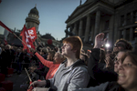 September 22, 2017 - Berlin, Germany:  Supporters hold placards and wave flags as they listen to    Martin Schulz, the  Social Democrats Party (SPD) leader and candidate for Chancellor speaking  during an election campaign rally of the SPD party at Gendarmenmarkt square. Germany goes Germany goes to the polls for parliamentary elections on September 24, 2017. (Hermann Bredehorst/ Polaris)