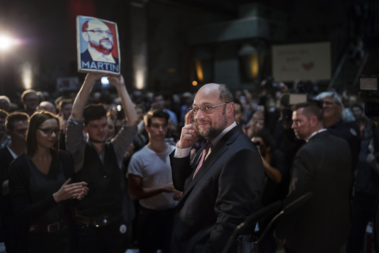 February 26, 2017 - Leipzig, Germany:  Martin Schulz, chancellor candidate of the German Social Democrats (SPD), enjoys the audiences  applause after an emotional speech at a campaign event. Schulz announced his candidacy in January and has since seen strong support in recent polls gaining over 10% in recent weeks  that resulted in a lead over current chancellor and Christian Democrat Angela Merkel. Federal elections in Germany are scheduled for September 24. 2017. Schulz did today his first large-scale campaign event in eastern Germany, where the populist and right-wing Alternative fuer Deutschland (AfD) has garnered a strong base of support. Schulz was President of the European Parliament from 2012 to 2017 in 2003 then Prime Minister of Italy, Silvio Berlusconi said:  ' Iwill recommend you'...for a role in a film... 'for the part of a Kapo [concentration-camp inmate appointed as supervisor]. You are perfect! |