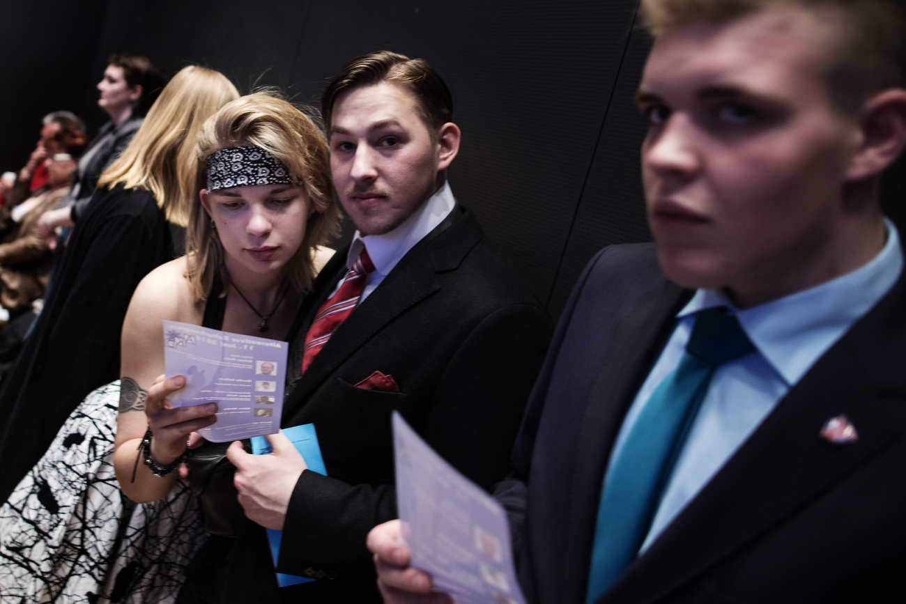 April 30, 2016 - Germany,  Stuttgart:  Members of the AfD youth organization Junge Alternative from the state of Lower Saxony take part  as about 2000 registered members attend the party congress of the right-wing party Alternative für Deutschland (AfD). The rapidly growing party is expected to adopt an anti-Islamic manifesto, emboldened by the rise of other European anti-migrant groups like Austria's Freedom party.