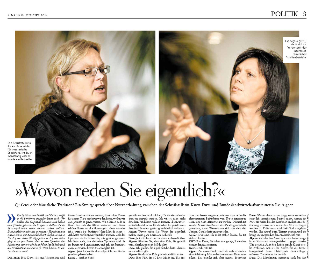 Die Zeit, Germany, May 08 2013, page 3, Aigner, Duve