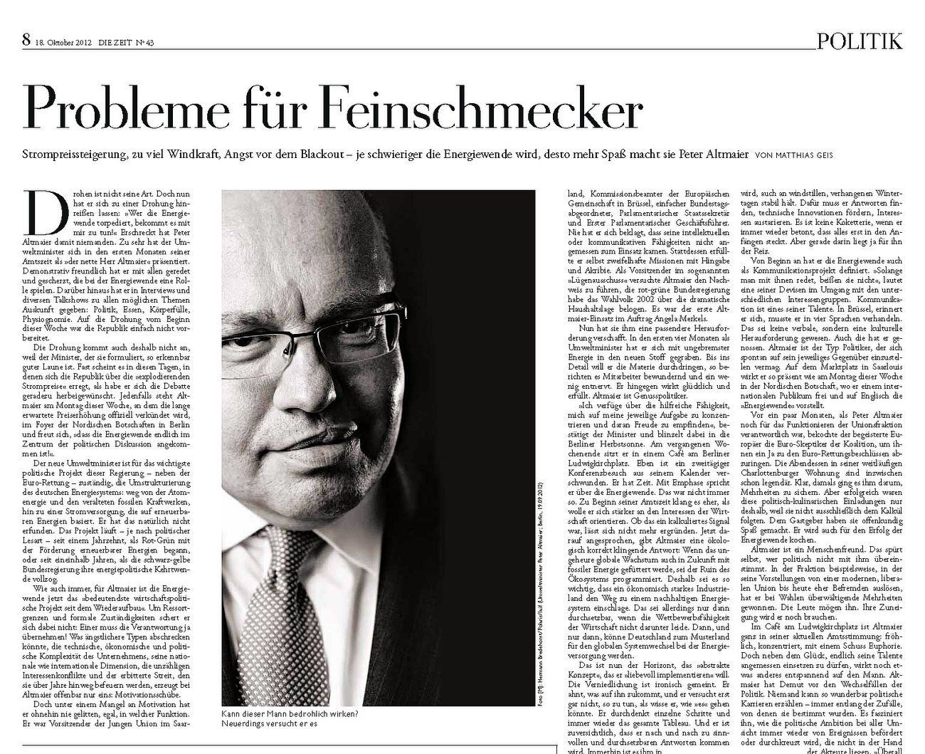 Die Zeit, German Minister for the environment, Peter Altmaier, 10/2012