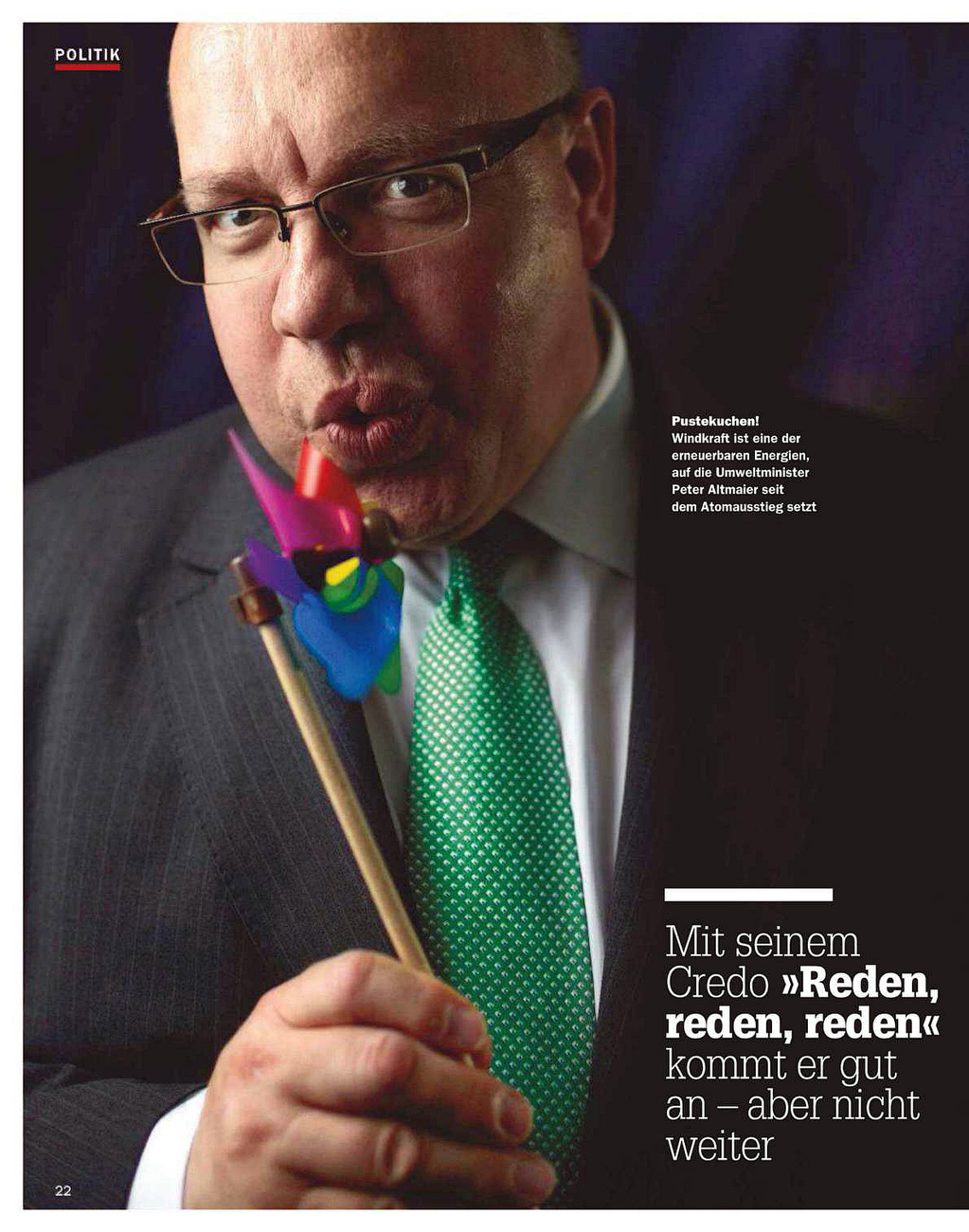 Focus Magazine, Germany, German Minister for the environment, Peter Altmaier, 10/2012