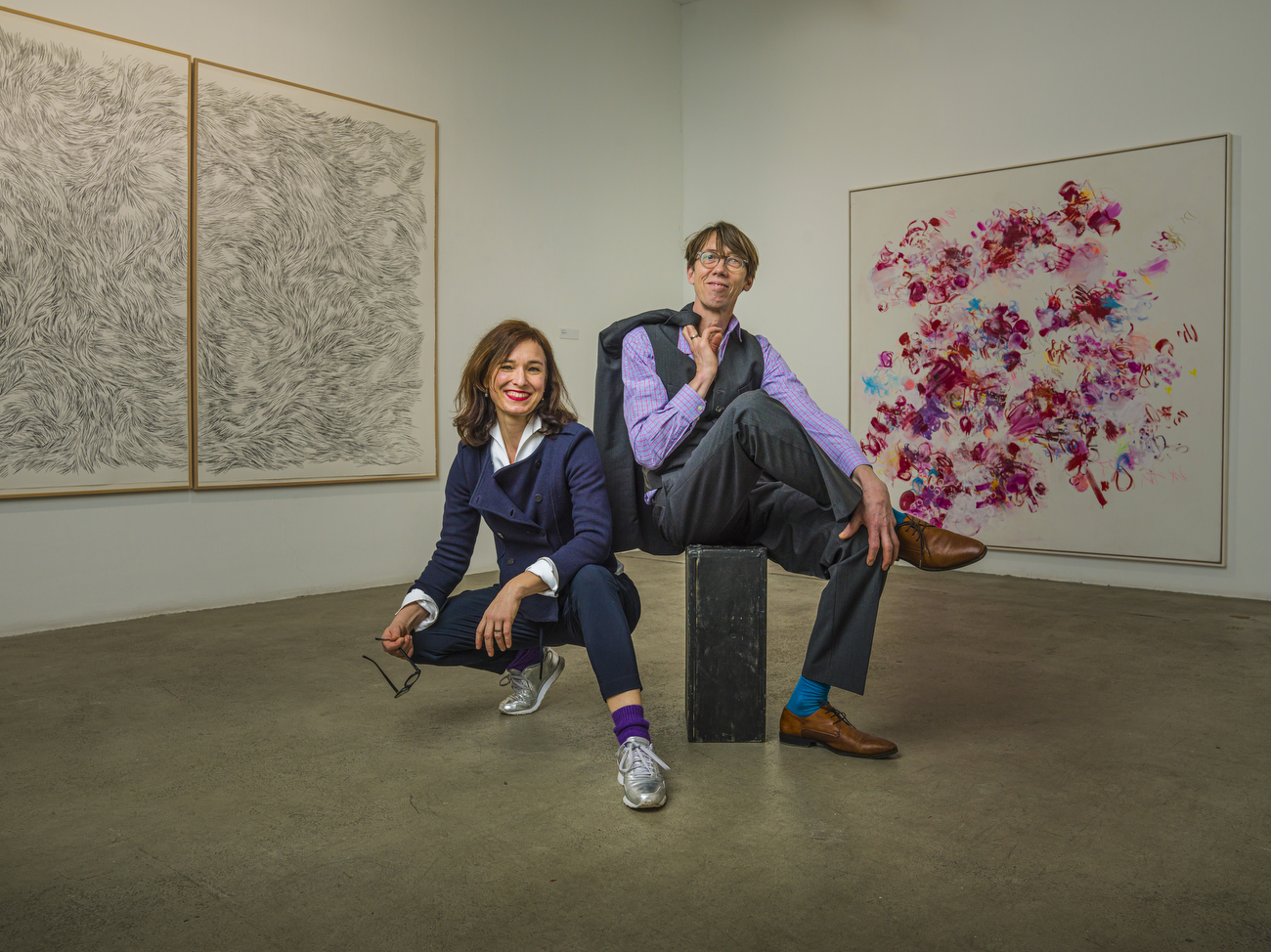 German artists Ulrike Seyboth and Ingo Fröhlich at their current exhibition entitled: {quote}Ulrike Seyboth & Ingo Fröhlich   {quote}I draw the time, you paint the moment{quote}.The exhibition runs from 14.2. - 28.3.2021