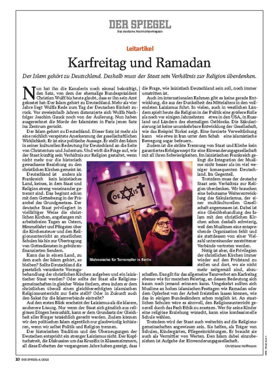 SPIEGEL, Germany, 10.02.2014, Editorial, Charlie Hebdo vigil organized by German Muslim Council, 17.01.2015