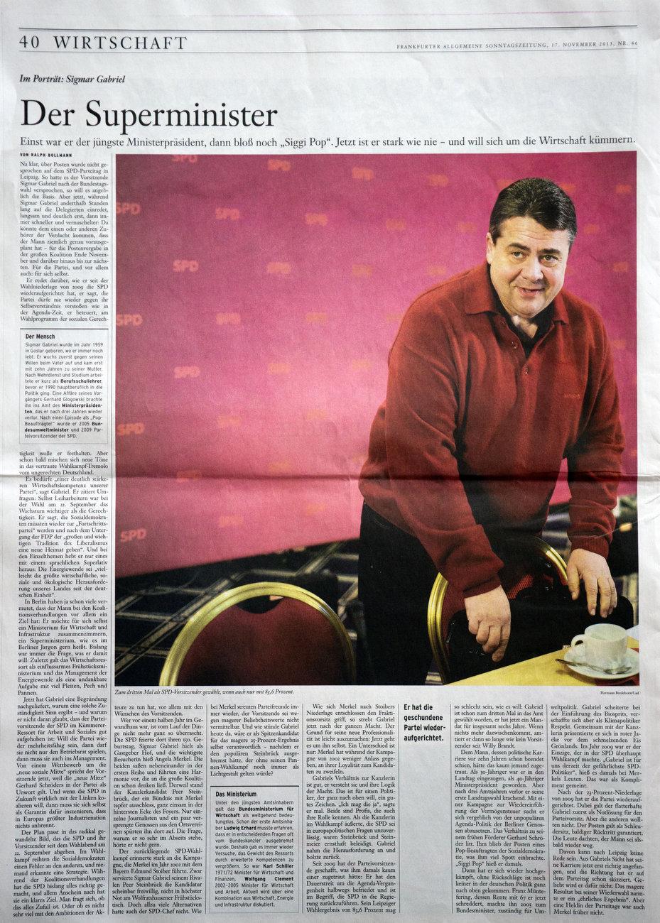 FAS (Frankfurter Allgemeine Sonntagszeitung), Germany, 17.11.2013, Sigmar Gabriel