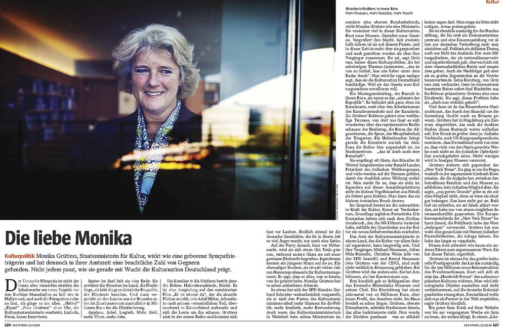 DER SPIEGEL State Minister Monika Gruetters